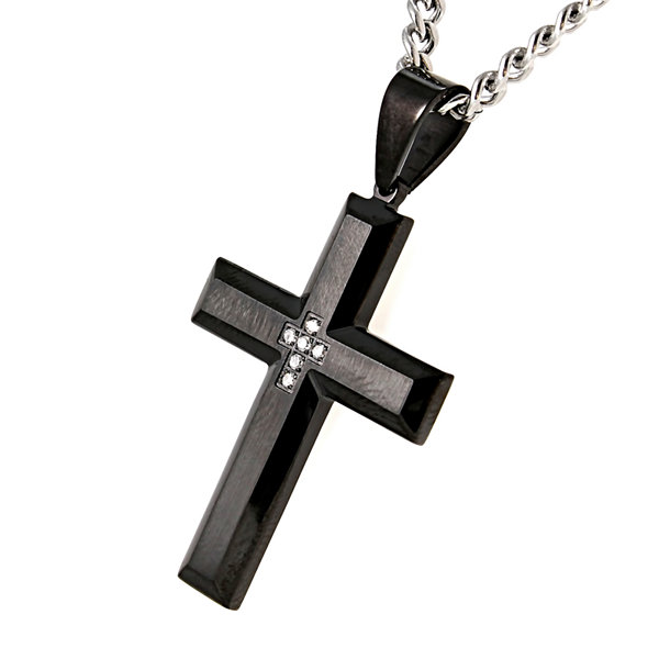 Mens Diamond-Accent Black IP Stainless Steel Cross Pendant Necklace