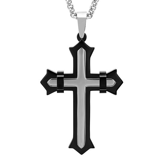 Mens Two-Tone Stainless Steel and Back IP Goth Fleur de Lis Cross Pendant Necklace