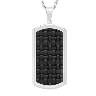 Mens Stainless Steel and Black Leather Dog Tag Pendant Necklace