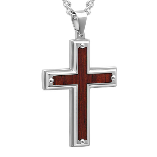Mens Stainless Steel and Wood-Grained Carbon Fiber Inlay Pendant Necklace