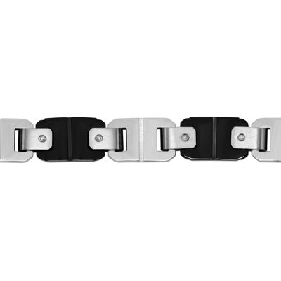 Mens Two-Tone Stainless Steel and Black IP Bracelet