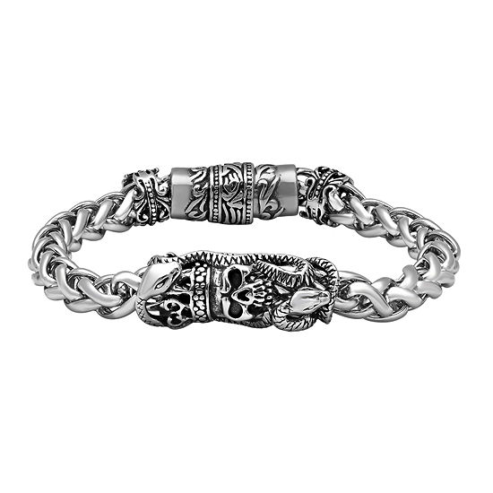 Mens Stainless Steel Skull Bracelet