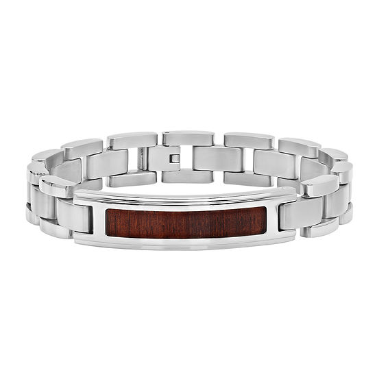 c91af672e9eab Mens Stainless Steel Inlay ID Bracelet