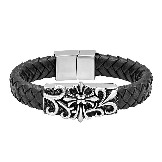 Mens Stainless Steel and Black Leather Goth Cross Bracelet