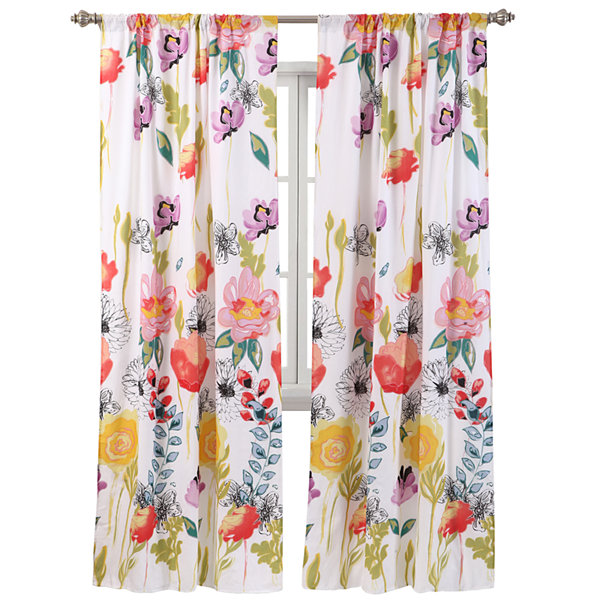Greenland Home Fashions Watercolor Dream 2-pk. Rod-Pocket Curtain Panels