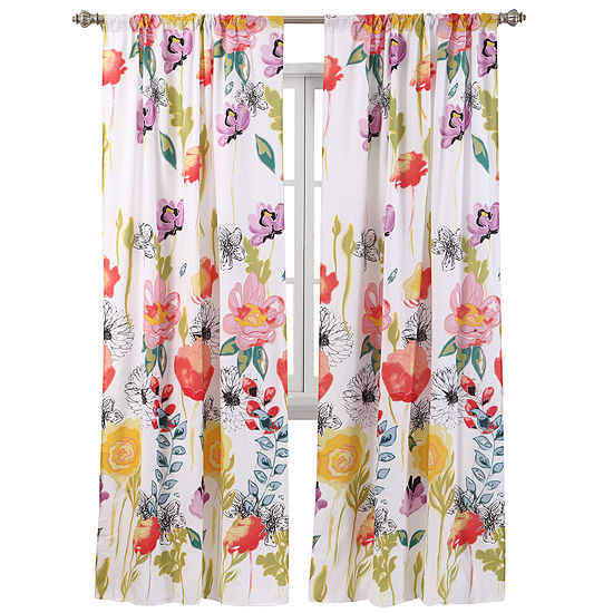 Greenland Home Fashions Watercolor Dream 2-pack. Rod-Pocket Curtain Panels