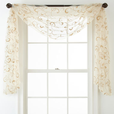 Royal Velvet® Plaza Embroidered Sheer Scarf Valance