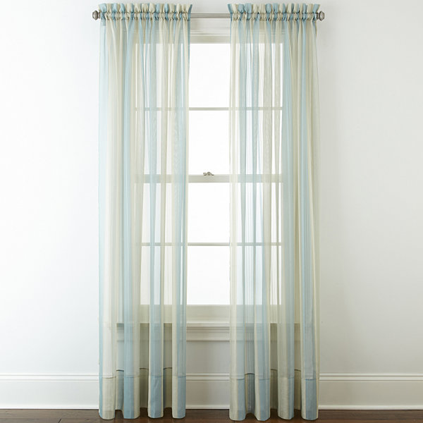 Liz Claiborne® Lisette Stripe Sheer Rod-Pocket Curtain Panel ...