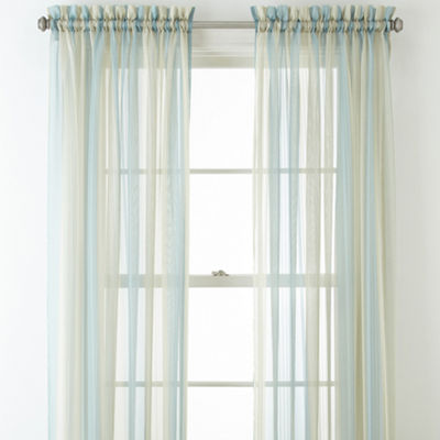 Home Expressions Lisette Stripe Sheer Rod-Pocket Curtain Panel