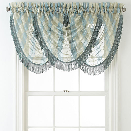 Home Expressions Lisette Stripe Rod-Pocket Waterfall Valance