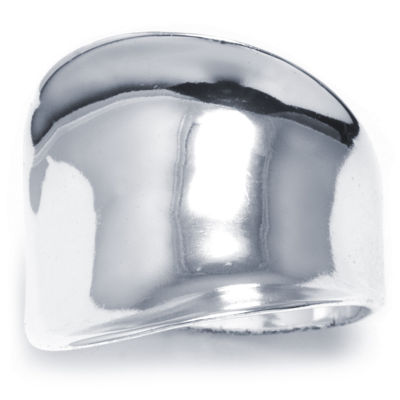 Sparkle Allure Womens Silver Tone Brass Concave Ring