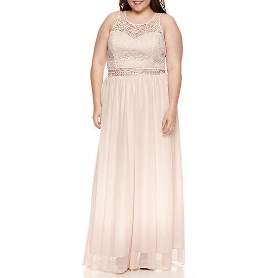 My Michelle-Juniors Plus Sleeveless Beaded Dress Set