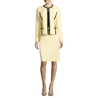 jcpenney.com | Black Label by Evan-Picone Long Sleeve Contrast Trim Jacket with Pencil Skirt