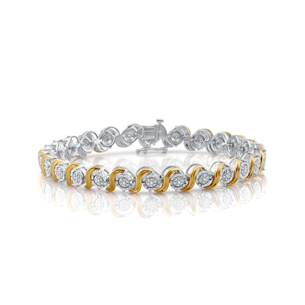 Womens 7.5 Inch 1/10 CT. T.W. Diamond 14K Yellow Gold Over Silver Tennis Bracelet