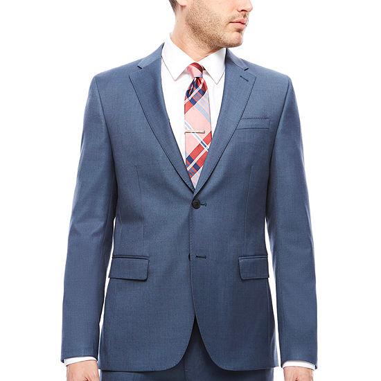 JF J.Ferrar Stretch Blue Sheen Sharkskin Suit Jacket- Slim Fit