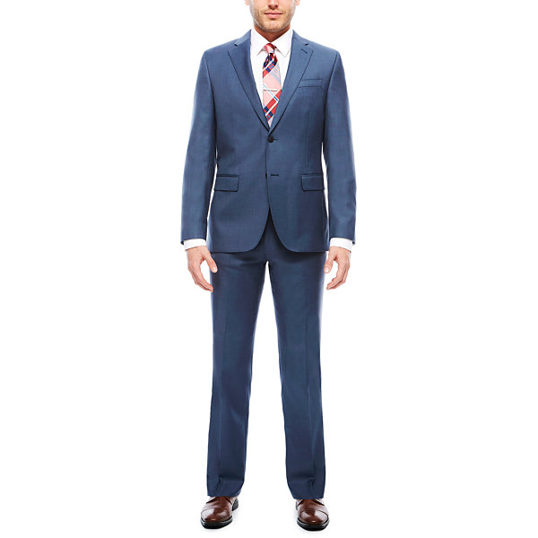Men's J.Ferrar Stretch Blue Sheen Sharkskin Flat-Front Slim-Fit Suit Pants