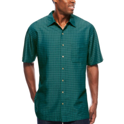 Van Heusen Short Sleeve Rayon Poly Box Textured Button-Front  Shirt-Big & Tall