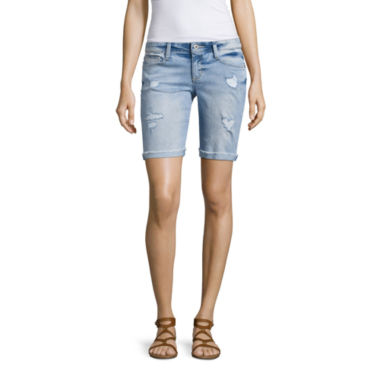 "Arizona 9"" Skinny Fit Denim Bermuda Shorts-Juniors"