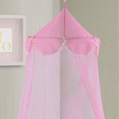 Pom Pom Collapsible Hoop Sheer Bed Canopy