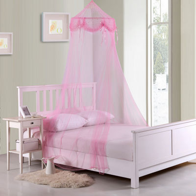 Buttons and Bows Collapsible Hoop Sheer Bed Canopy