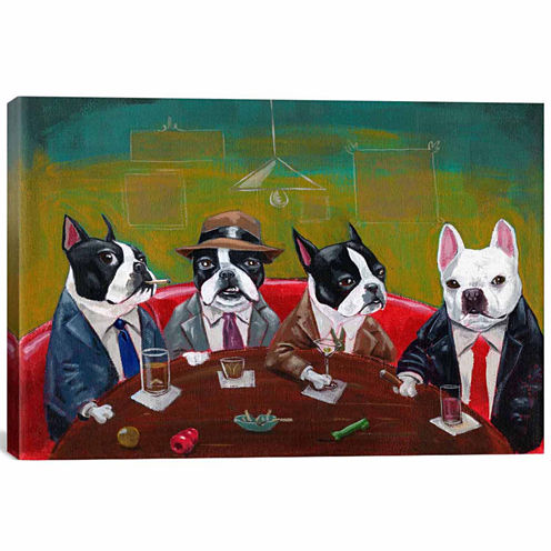 Icanvas 3 Boston Terriers And A French Bulldog Canvas Art
