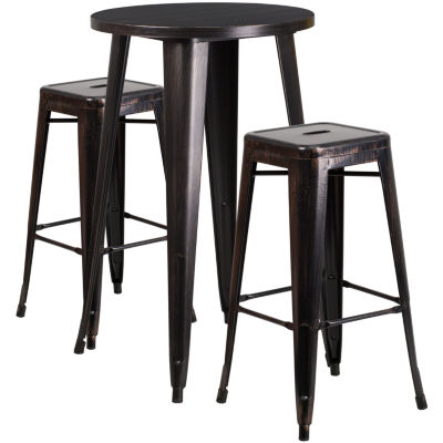 24'' Round Metal Indoor/Outdoor Bar Table Set with 2 Square Seat Backless Stools