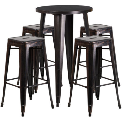 24'' Round Metal Indoor/Outdoor Bar Table Set with 4 Square Seat Backless Stools