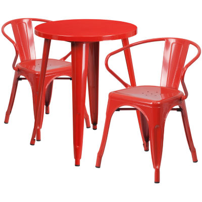 24'' Round Metal Indoor/Outdoor Table Set with 2 Arm Chairs