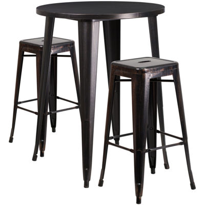 30'' Round Metal Indoor/Outdoor Bar Table Set with 2 Square Seat Backless Stools