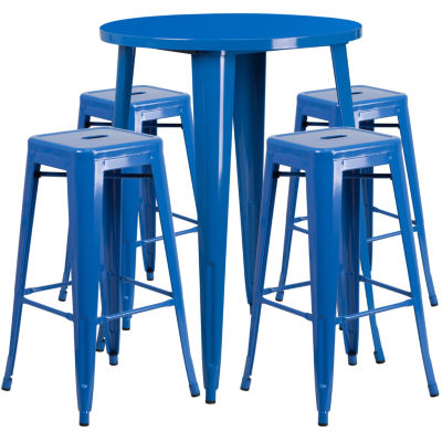 30'' Round Metal Indoor/Outdoor Bar Table Set with 4 Square Seat Backless Stools