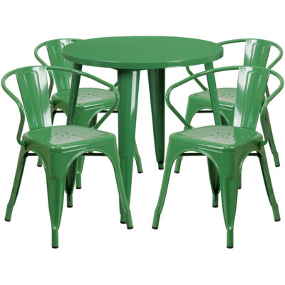 30'' Round Metal Indoor/Outdoor Table Set with 4 Arm Chairs