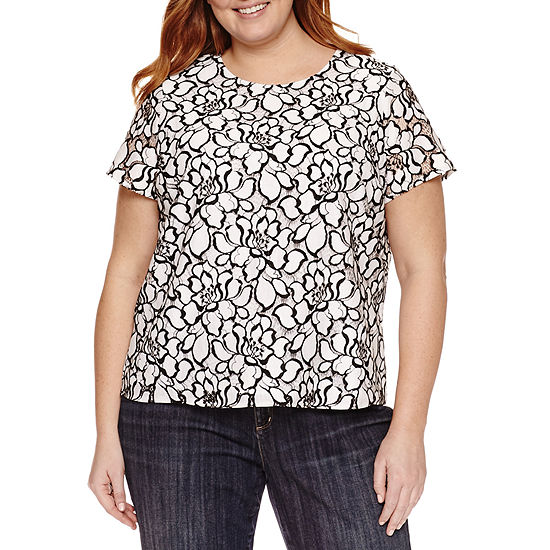 eacb02814d327 Liz Claiborne Short Sleeve Crew Neck T-Shirt-Womens Plus - JCPenney