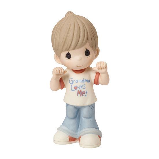 "Precious Moments  ""Grandma Loves Me""  Bisque Porcelain Figurine  Boy  #154033"