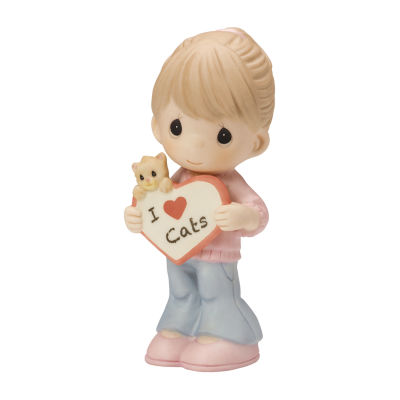 "Precious Moments  ""I Love Cats"" Bisque Porcelain Figurine #154046"