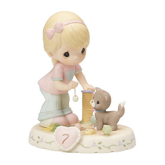 Precious Moments Growing In Grace Age 7 Bisque Porcelain Figurine Blonde Girl 154034