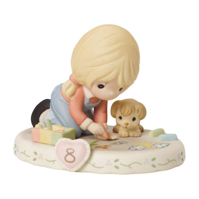 """Precious Moments  """"Growing In Grace  Age 8""""  Bisque Porcelain Figurine  Blonde Girl  #154035"""