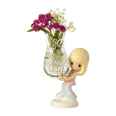 """Precious Moments  """"Love You Lots!"""" Glass Bud Vase  Bisque Porcelain Figurine  Girl #154005"""