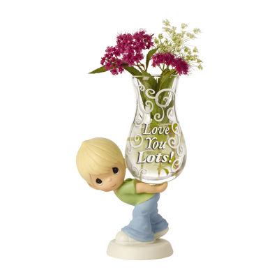 "Precious Moments  ""Love You Lots!"" Glass Bud Vase  Bisque Porcelain Figurine  Boy #154006"