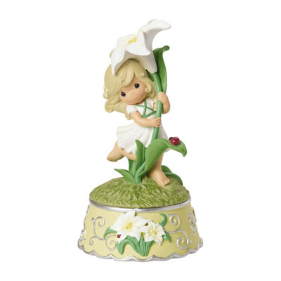 "Precious Moments  ""Girl With Lily Flower"" Resin  Music Box  #154105"