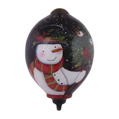 "Ne'Qwa Art  ""Birds Of A Feather Celebrate Together"" Artist Susan Winget  Petite Princess-Shaped Glass Ornament  #7151150"