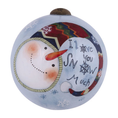 "Ne'Qwa Art  ""I Love You Snow Much"" Artist Susan Winget  Petite Round-Shaped Glass Ornament  #7151153"