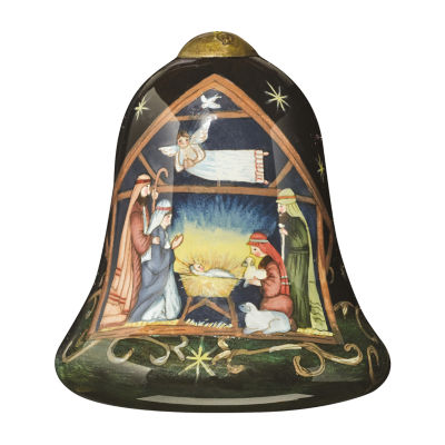 "Ne'Qwa Art  ""Away In A Manger"" Artist SusanWinget  Petite Bell-Shaped Glass Ornament  #7151171"