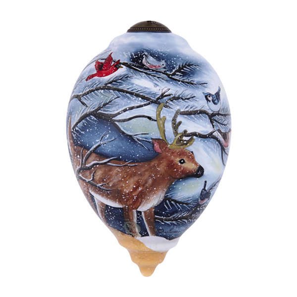 "Ne'Qwa Art  ""Frosty's Woodland Friends"" Artist Susan Winget  Princess-Shaped Glass Ornament#7141150"