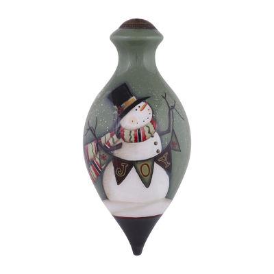 "Ne'Qwa Art  ""Joy Snowman"" Artist Angela Anderson  Brilliant-Shaped Glass Ornament  #7151102"