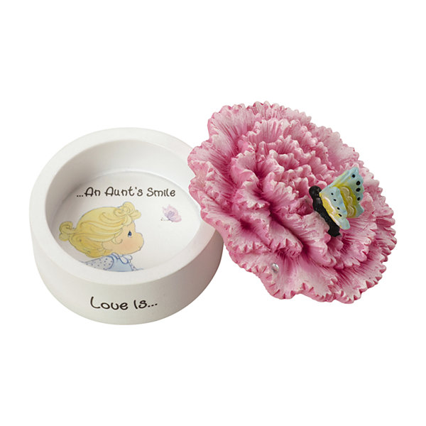 "Precious Moments  ""Love Is An Aunt's Smile""Carnation Resin Trinket Box  #154432"