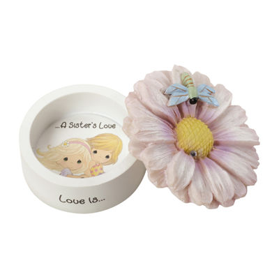 "Precious Moments  ""Love Is A Sister's Love""Daisy Resin Trinket Box  #154434"