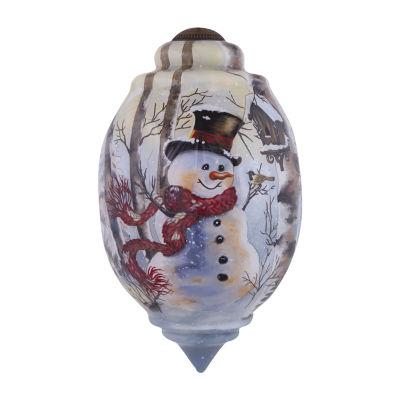 "Ne'Qwa Art  ""Birch Forest Snowman"" Artist Dona Gelsinger  Trillion-Shaped Glass Ornament  #7151132"