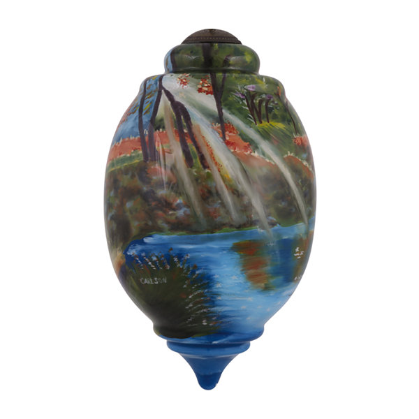 "Ne'Qwa Art  ""Mists Of Autumn"" Artist Cory Carlson  Trillion-Shaped Glass Ornament  #7144107"