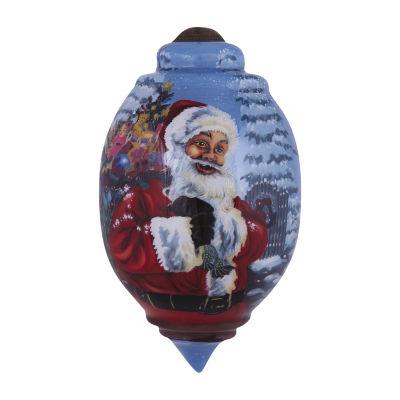 """Ne'Qwa Art  """"Santa's Magic Bag"""" Artist Dona Gelsinger  Trillion-Shaped Glass Ornament  #7151127"""