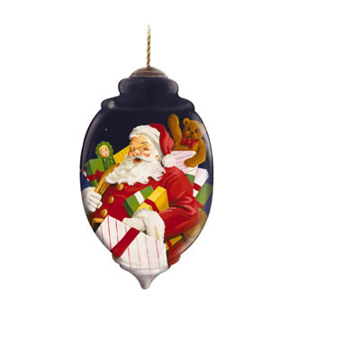 "Ne'Qwa Art  ""Presents For All"" Artist JosephHolodook  Petite Trillion-Shaped Glass Ornament#7131152"